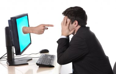 Worried desperate Business man with computer  in stress concept