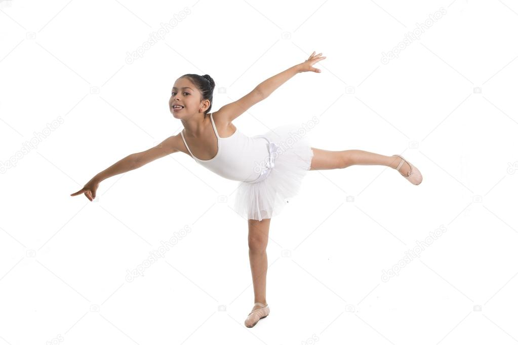 young cute little girl ballet dancer dancing on white background