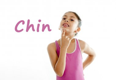 Learning english for children school card of girl pointing at her chin on white background