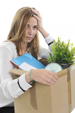 Sad Business Woman carrying Cardboard Box fired from Job