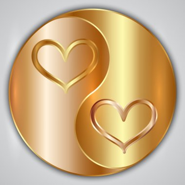 Vector round yin yang medallion with hearts and gold frame