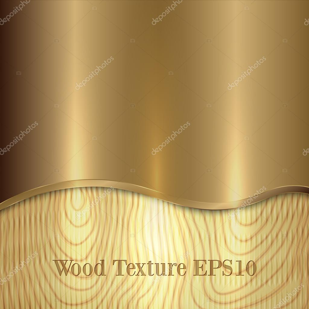 Vector yellow metal plaque placed on wooden background