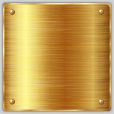 Vector square gold metallic plate with screws
