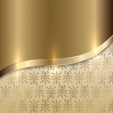 Vector gold texture background with curve line and floral print