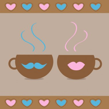 Two teacups with mustache and lips and hearts. Love card
