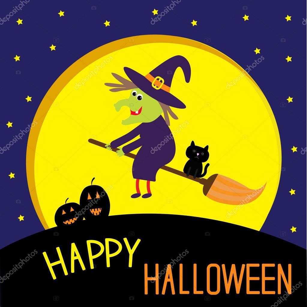flying cartoon witch and cat big moon happy halloween card stock vector - Halloween Witch Cartoon