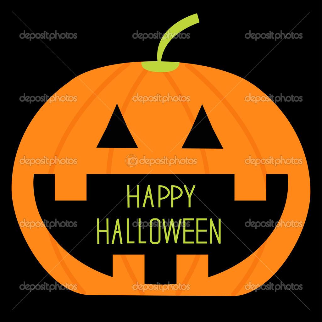 calabaza grande con texto feliz halloween en la boca. tarjeta ...