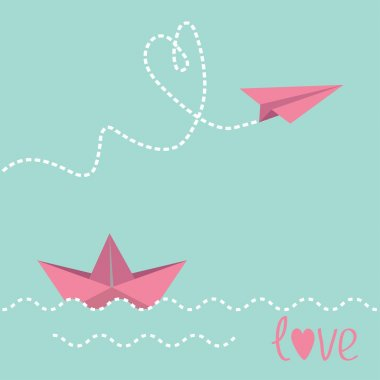 Origami paper boat and paper plane.