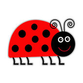 Photo Cute cartoon lady bug. Isolated.