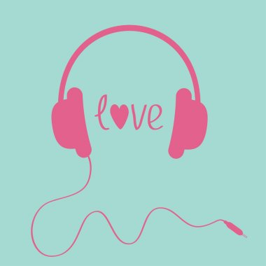 Pink headphones with cord . Love card.