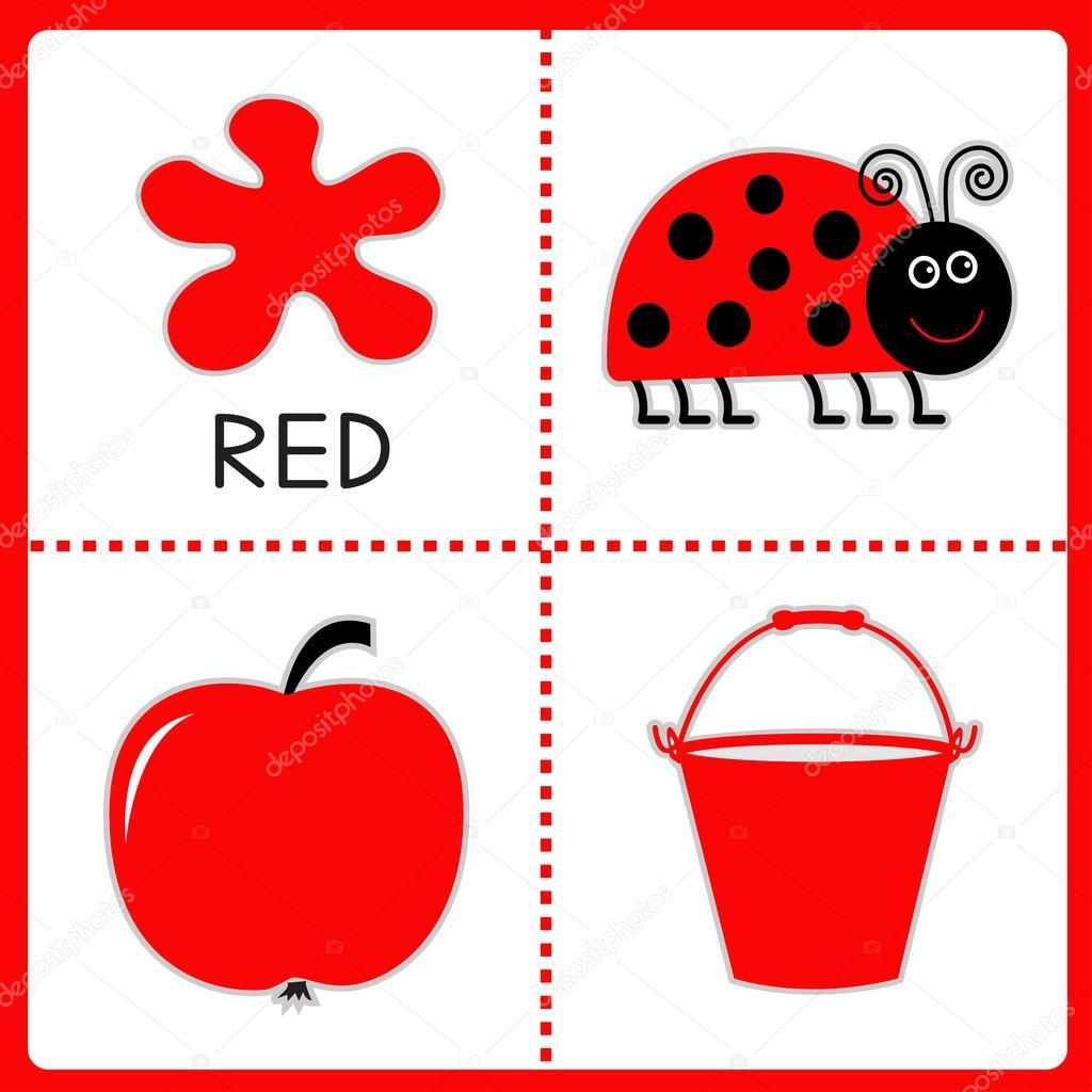 aprendizaje de color rojo. Mariquita, manzana y cubo. tarjetas ...