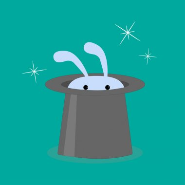 Bunny rabbit in magic hat.