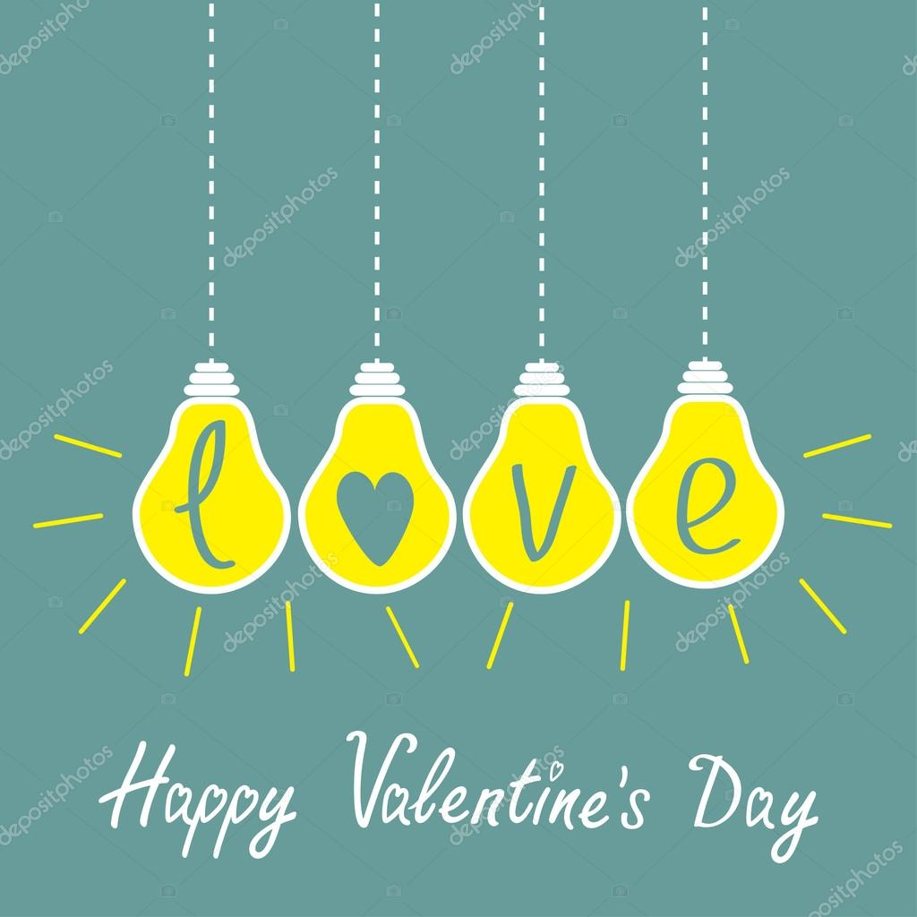 Four hanging yellow light bulbs with word love. Idea concept.