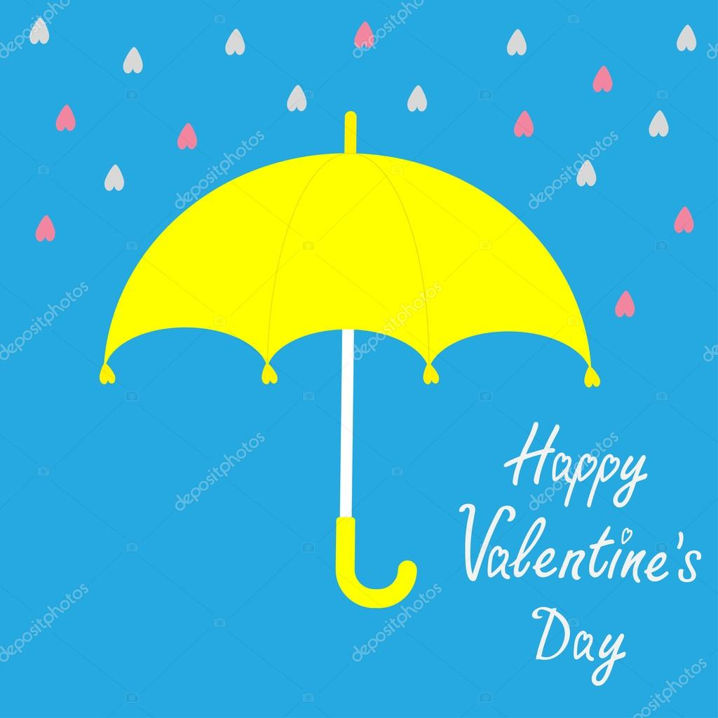 Yellow umbrella. Rain in shape of hearts. Happy Valentines day