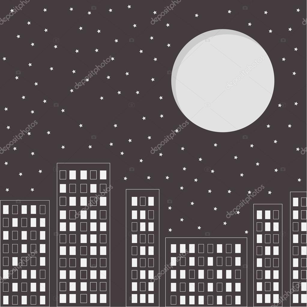 Silhouette of the night city. Stars and big moon in the sky.