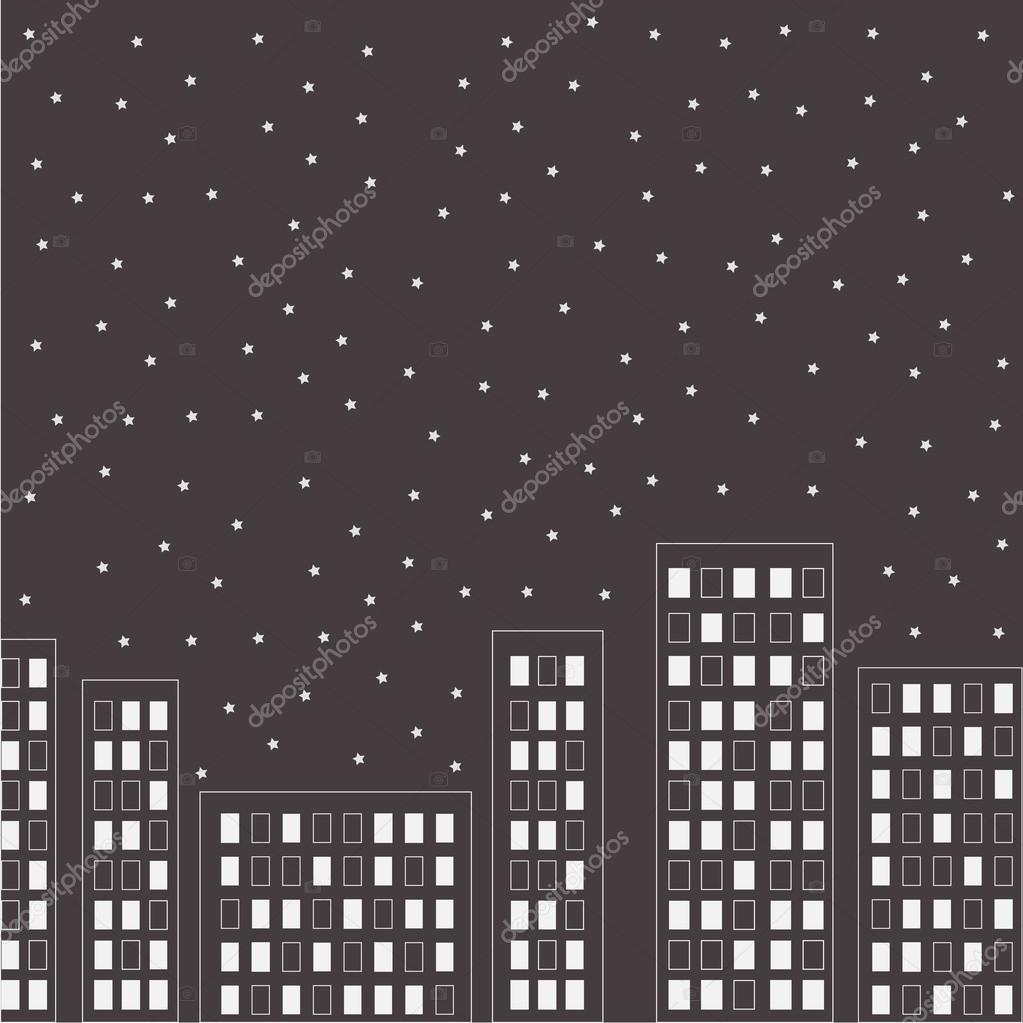 Silhouette of the night city. Stars in the sky.