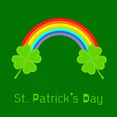 Rainbow and two clover leafs. St Patricks day card.