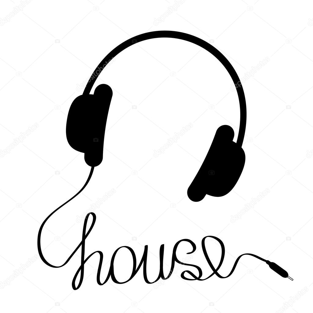 Black headphones with cord in shape of word house.