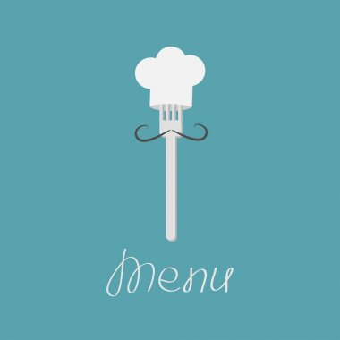 Fork with mustache and chefs hat.
