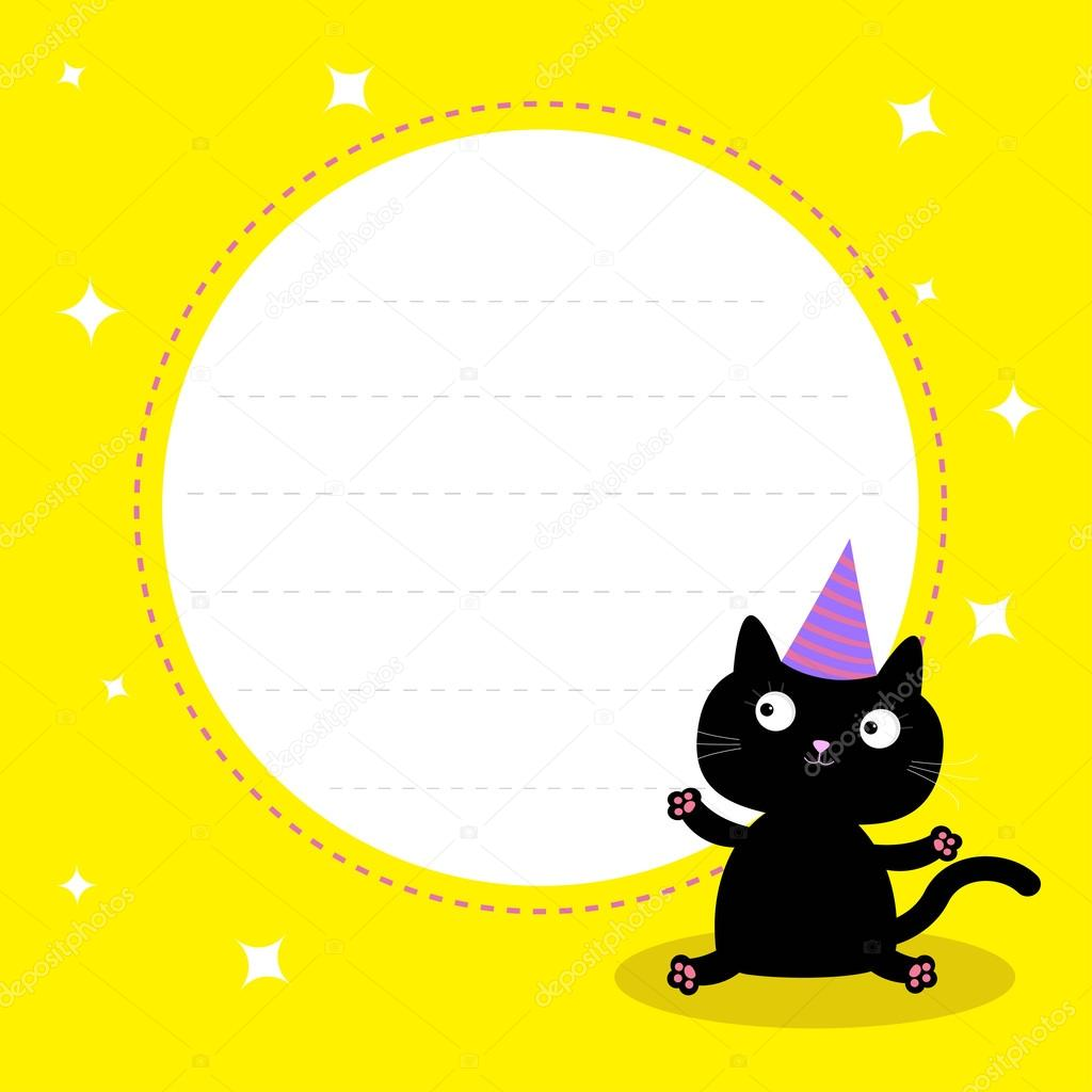 marco con el gato de dibujos animados lindo negro con sombrero ...