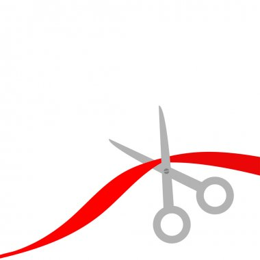 Scissors cut the red ribbon. Isolated. Flat design style.