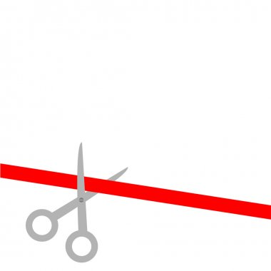 Scissors cut straight red ribbon on the left