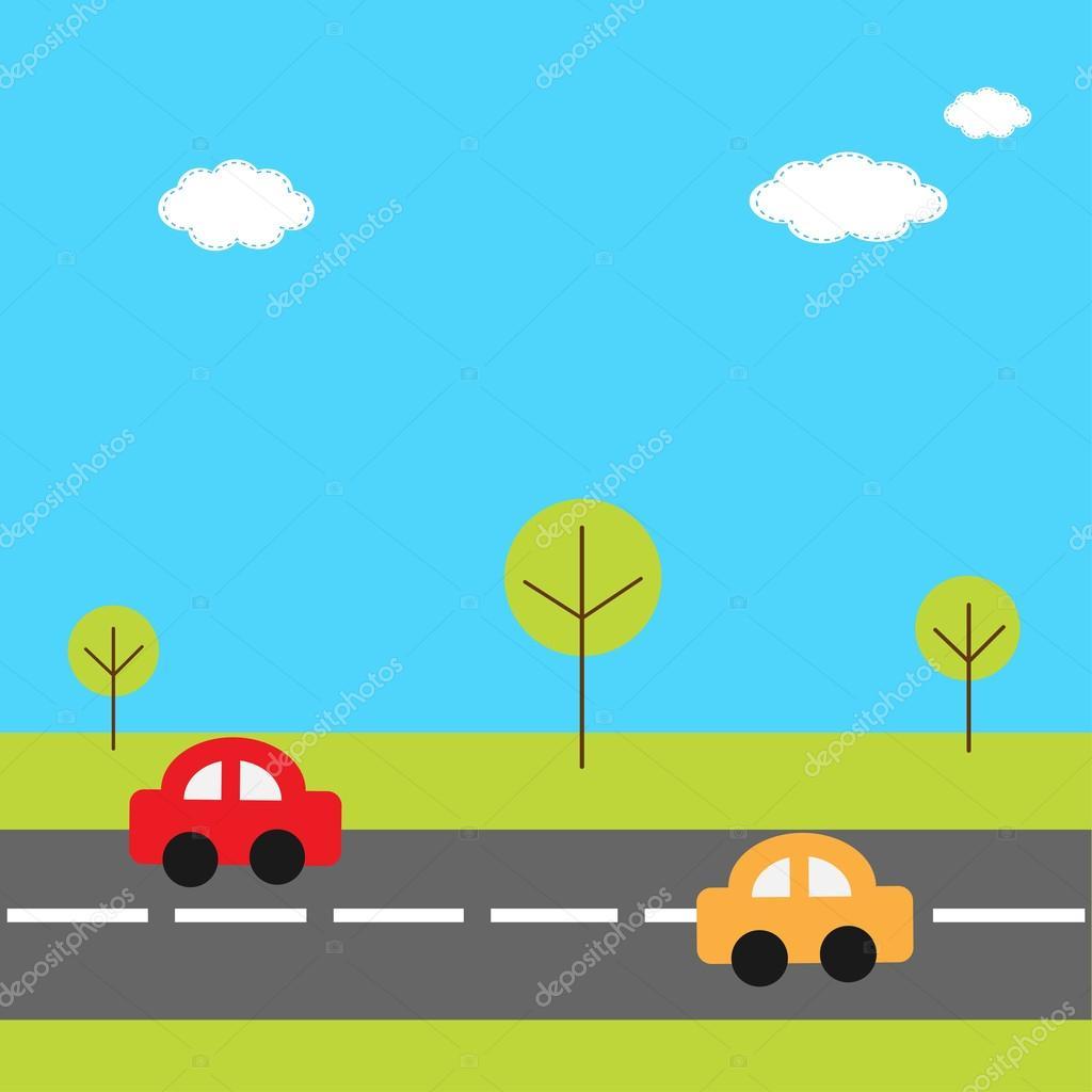 desenhos animados carros na estrada vetor de stock worldofvector