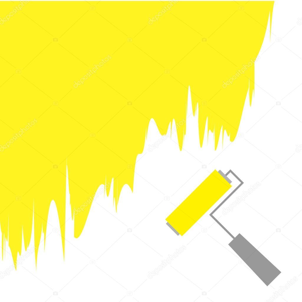 Yellow paint roller brush — Stock Vector © worldofvector #49197597