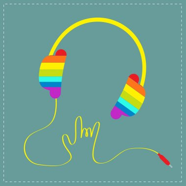 Rainbow headphones with shape of hand