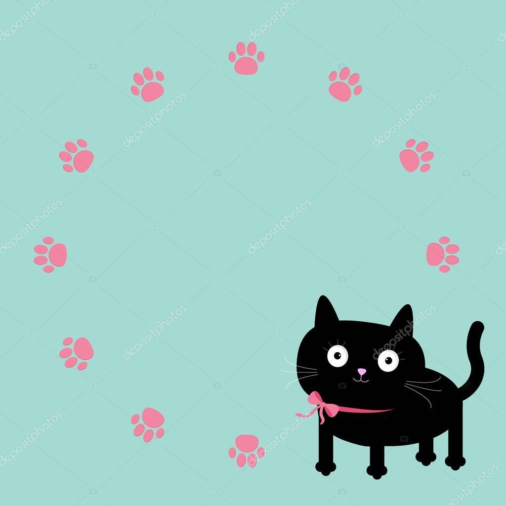 plantilla de impresión marco redondo gato y la pata — Archivo ...