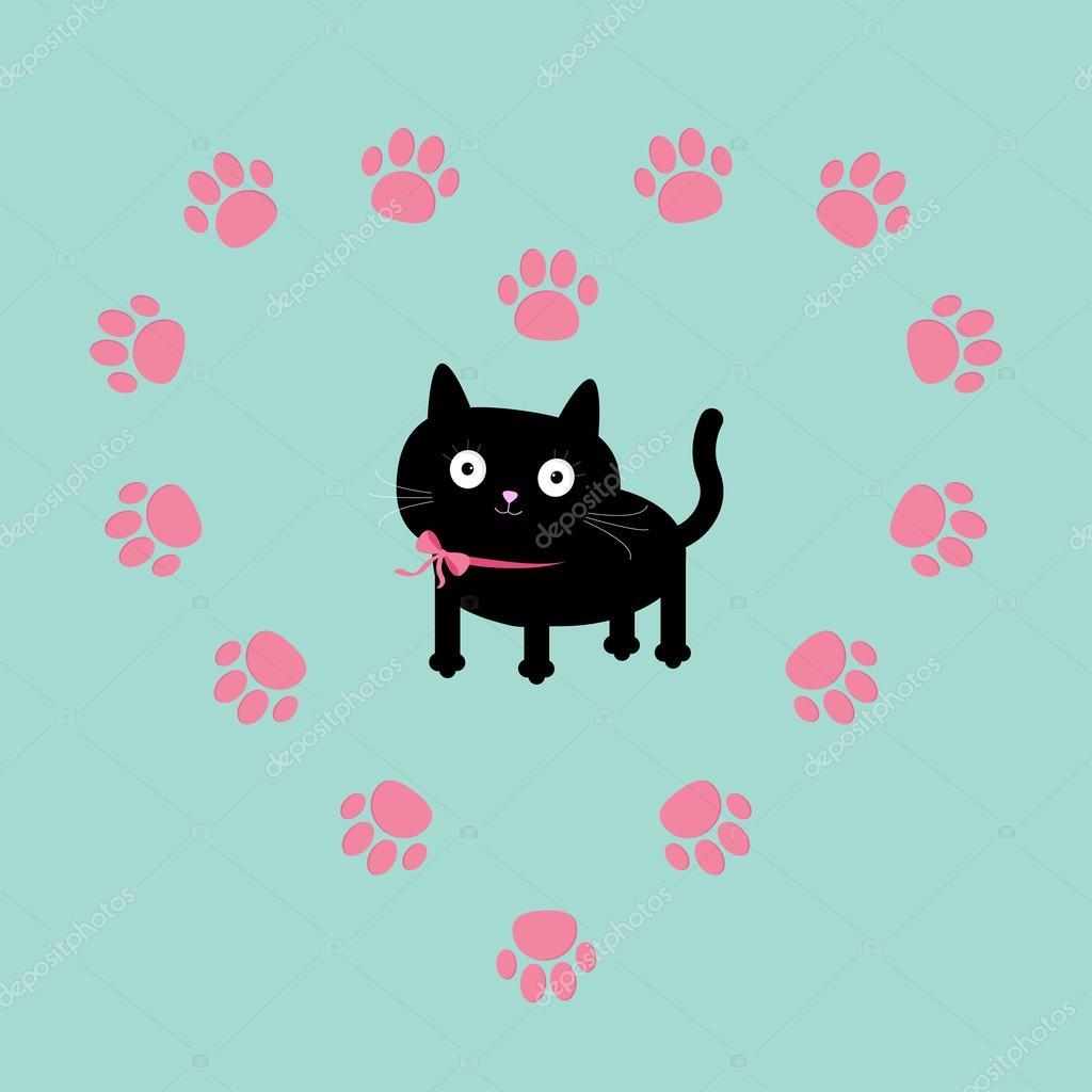 gato dentro del marco de impresión corazón pata — Vector de stock ...