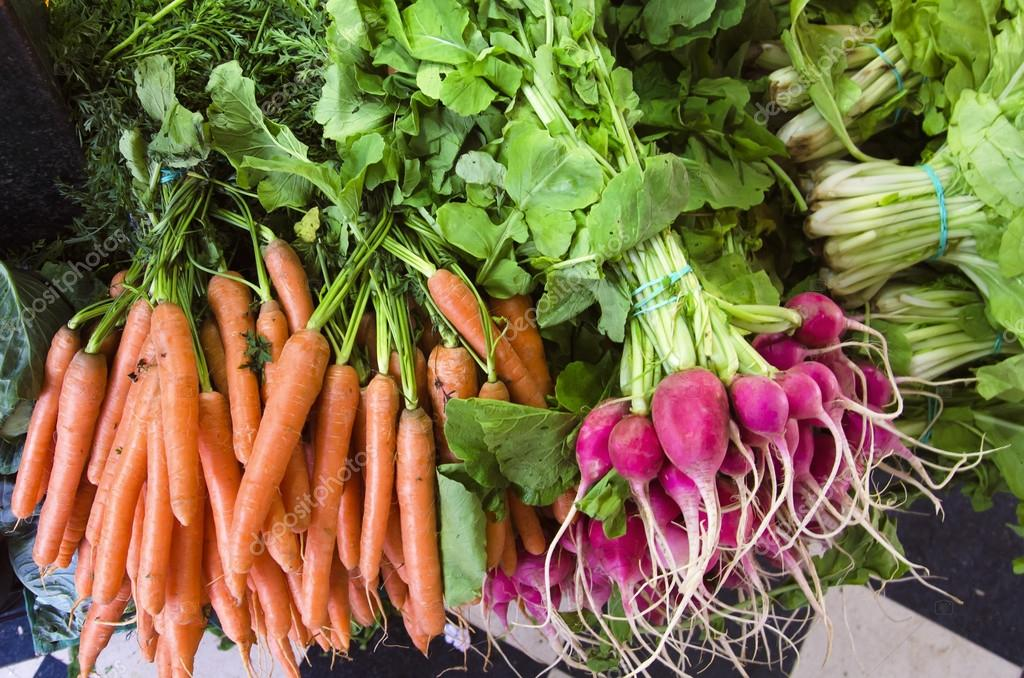 Carrots and radishes seen from above