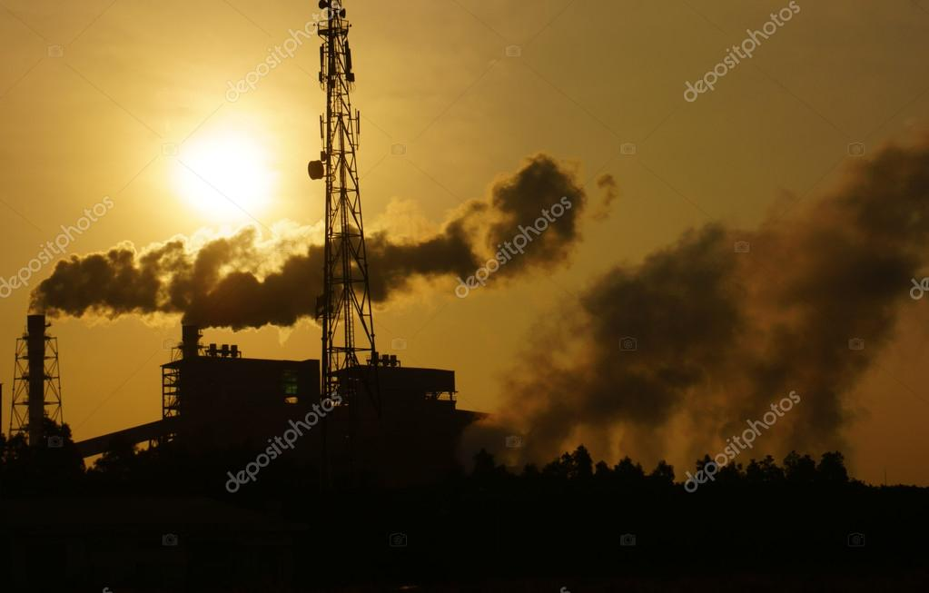 Polluted environment from factory in industrial zone