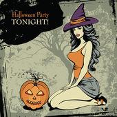 Fotografie Halloween-Karte mit eine sexy Hexe und einen spooky Kürbis