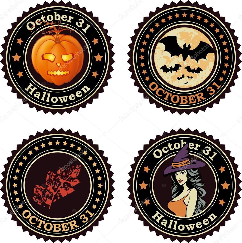 Happy Halloween seals or badges, vector