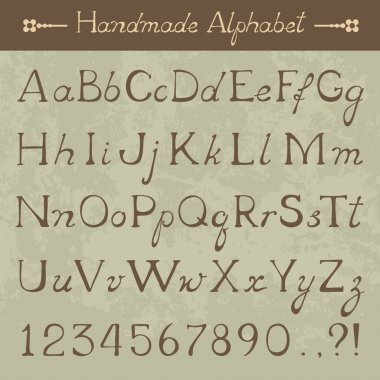 Vector hand drawn Alphabet, uppercase and lowercase letters, punctuation marks and digits