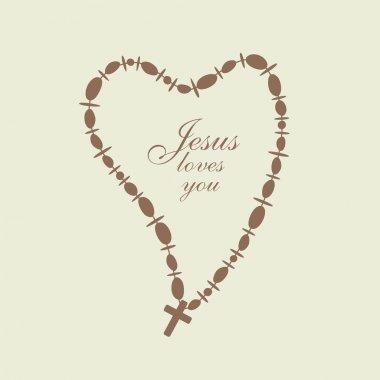 Christian Cross in a heart shape