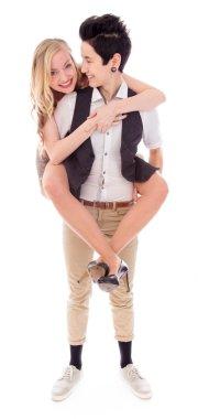 Woman giving partner a piggyback ride