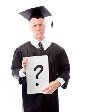 Graduate question mark sign placard