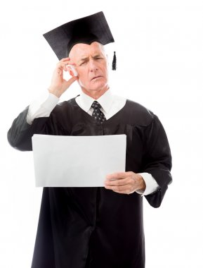 Graduate holding blank sheets of paper