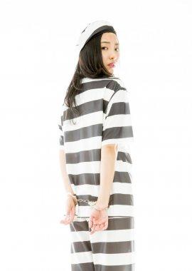 Sad handcuffed woman