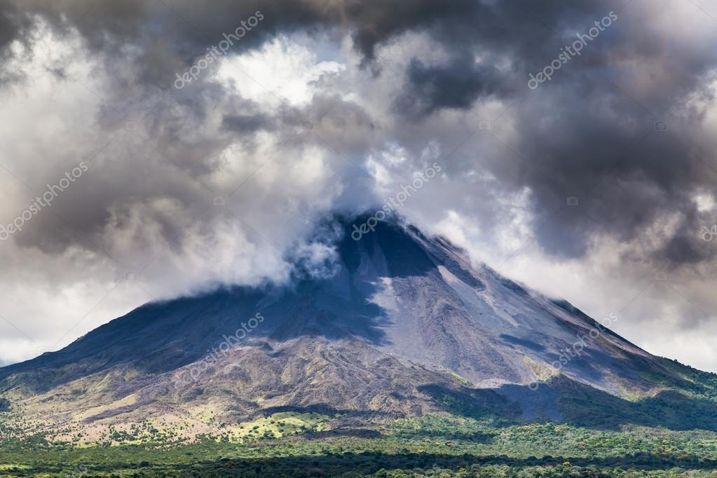 Clouds over a volcano