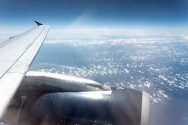 Wing from airplane window