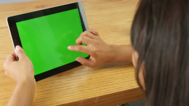 Tablet with green screen copy space
