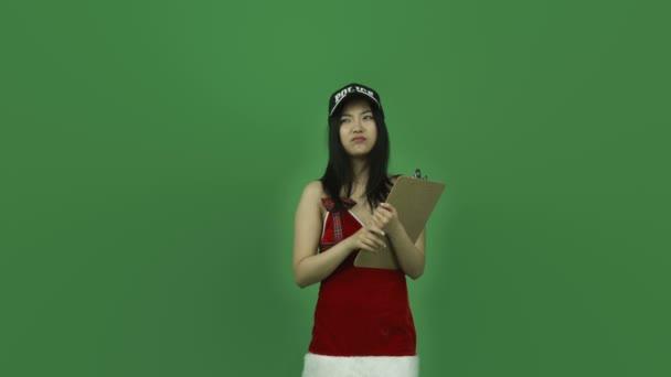dívka s kontrolní seznam