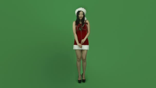 Asian girl sexy santa claus in love