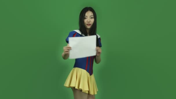 Snow white confident with blank sign