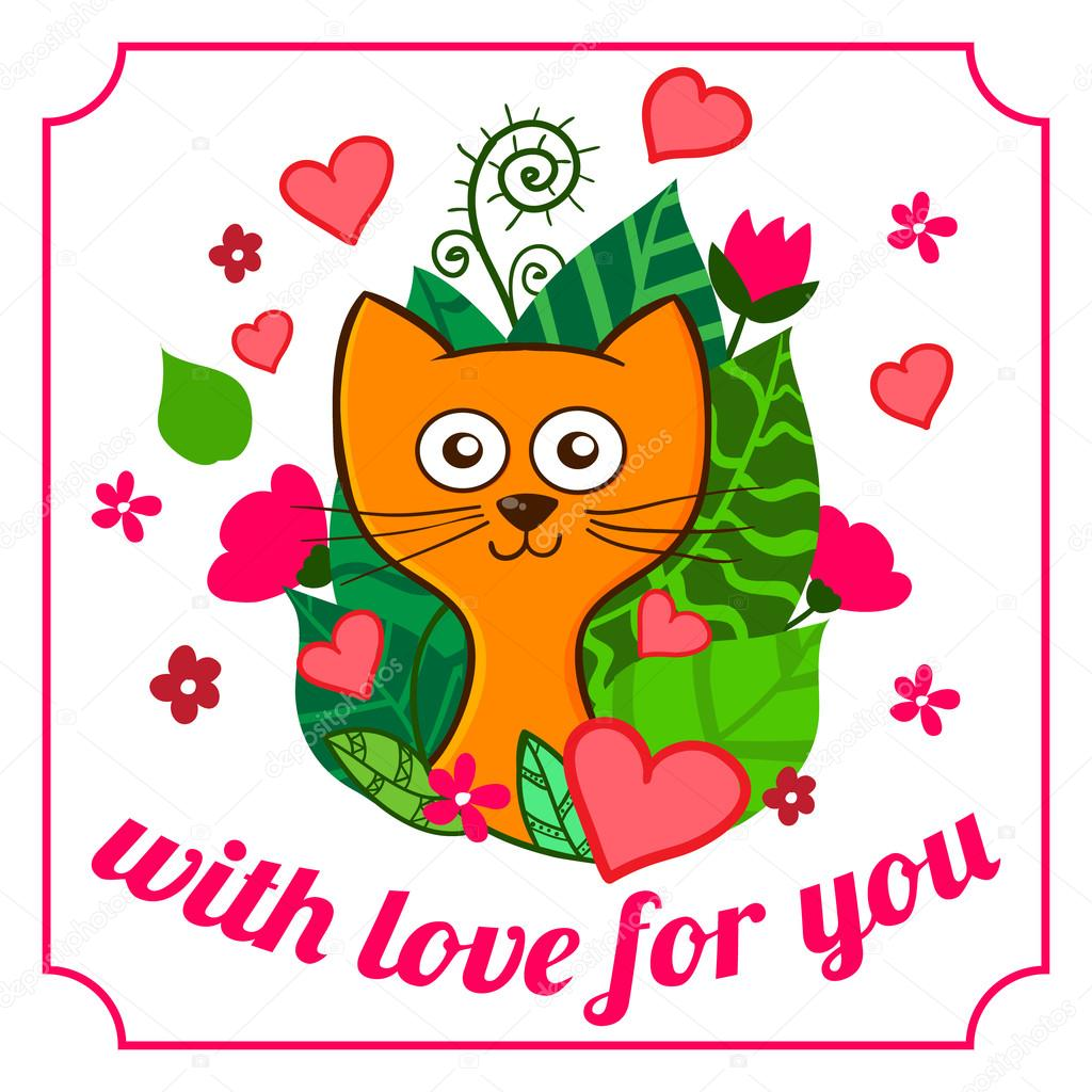 Valentine Day Funny Cartoon Kitten With Pink Hearts And Flowers Stock Vector