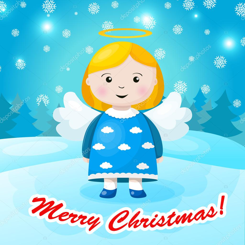 0ba15ad4a840e Cute Christmas card in vector. Bright holiday background with small funny  angel in New Year toys in cartoon style– stock illustration