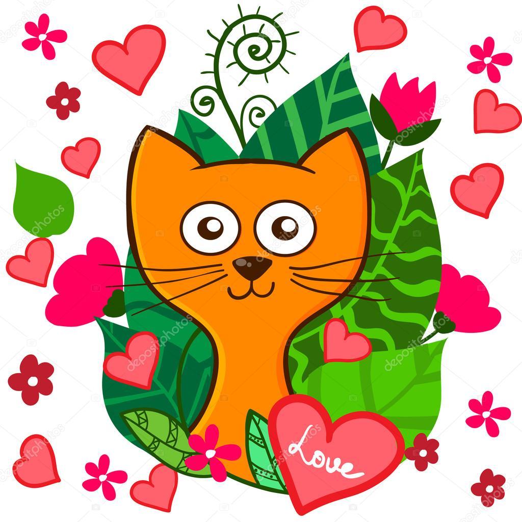 Gattino di cartone animato divertente san valentino giorno